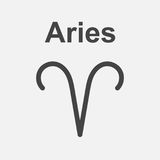 Aries zodiac sign. Flat astrology vector illustration on white b. Ackground Stock Illustration