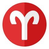 Aries Zodiac Sign Flat Icon rojo en blanco Imagen de archivo libre de regalías