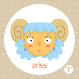 Aries zodiac sign, girl with horns Royalty Free Stock Image