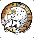 Aries and the zodiac sign. Horoscope circle. Vector