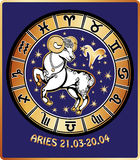 Aries zodiac sign.Horoscope circle.Retro Illustrat Stock Photos