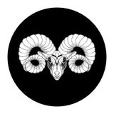 Aries zodiac sign, horoscope symbol, vector illustration. Black and white Royalty Free Illustration