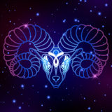 Aries zodiac sign, horoscope symbol, vector illustration. On space background Stock Illustration