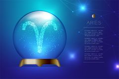 Aries Zodiac sign in Magic glass ball, Fortune teller concept design illustration. On blue gradient background with copy space, vector eps 10 Royalty Free Stock Photography