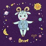 Aries zodiac sign on night sky background with stars Royalty Free Stock Photography