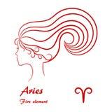 Aries Zodiac Sign Perfil femenino estilizado del contorno Foto de archivo