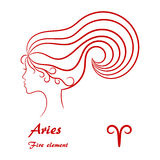 Aries Zodiac Sign Profilo femminile stilizzato di contorno Fotografia Stock