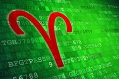 Aries Zodiac Sign rouge sur le fond numérique vert Copiez l'espace illustration libre de droits