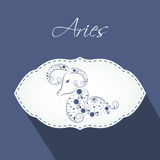 Aries Zodiac sign sticker or label. Royalty Free Stock Images