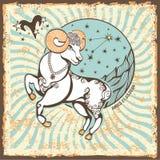 Aries Zodiac Sign Tarjeta del horóscopo del vintage Foto de archivo