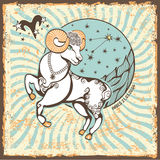 Aries Zodiac Sign.Vintage Horoscope Card Stock Photo