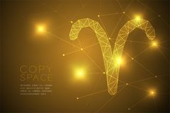Aries Zodiac sign wireframe Polygon frame structure, Fortune teller concept design illustration. Isolated on gold gradient background with copy space, vector vector illustration