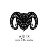 Aries zodiac. Signs of the zodiac. Aries hand draw. Black silhouette and white details. Vector illustration isolated on a white background Royalty Free Stock Photo