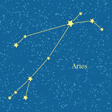 Aries Zodiac Symbol on Background of Cosmic Sky Royalty Free Stock Photography