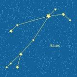 Aries Zodiac Symbol en fondo del cielo cósmico Fotografía de archivo libre de regalías