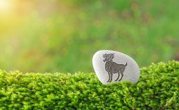 Aries zodiac symbol in stone. On grass with nature bokeh light background stock images