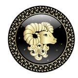 Aries zodiak podpisuje wewnątrz okrąg ramę Obrazy Royalty Free