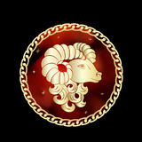 Aries zodiak podpisuje wewnątrz okrąg ramę Fotografia Stock