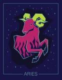 Ariete del segno dello zodiaco sul fondo stellato del cielo di notte Fotografie Stock Libere da Diritti