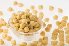 Arietinum de cicer de grains de pois chiche dans la cuvette Photos stock