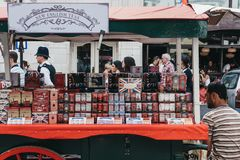 Variety of teas on sale a market stall in Portobello Road Market, stock images