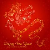 år för kinesisk drake för kort nytt utsmyckat stylized royaltyfri illustrationer