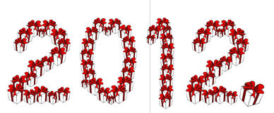 år för nytt ställe för gåva för 2012 ask set Royaltyfria Bilder