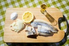 Aringa del raccordo con la cipolla ed il limone Immagini Stock Libere da Diritti