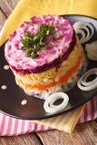 Aringa russa tradizionale dell'insalata sotto un primo piano della pelliccia ver immagini stock