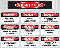 Arious danger sign, site safety signs Stock Photography