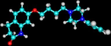 Aripiprazole-Molekül lokalisiert auf Schwarzem Stockbilder