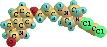 Aripiprazole-Molekül lokalisiert auf Weiß stock abbildung