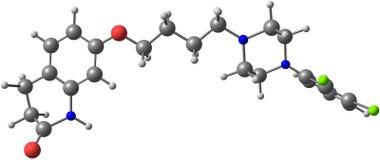 Aripiprazole molekyl som isoleras på vit Royaltyfria Foton