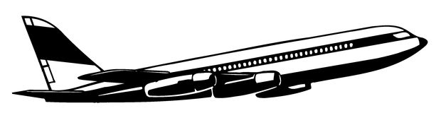 Ariplane. Drawing of black airplane in a white background Royalty Free Stock Image