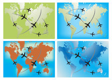 Ariplane route in four world map Stock Photo