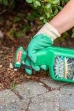 Aris Francja, Sierpień, - 15, 2018: Ogrodniczka używa obława herbicyd w francuskim ogródzie Obława jest nazwą firmową herbicyd co zdjęcie royalty free