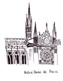 Aris monument Eiffel TowerIllustration sketch of the famous Not re Dame Cathedral Stock Photo