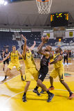 ARIS VS PAOK GREEK BASKET LEAGUE. THESSALONIKI, GREECE,  JUN 17, 2015: Carter of Paok (M) in action with Pasalits (L) and Tomas (R) of Aris during the Greek Stock Images