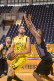 ARIS VS PAOK GREEK BASKET LEAGUE. THESSALONIKI, GREECE, JUN 17, 2015: Margaritis of Paok (L) in action with Vezenkov of Aris (R) during the Greek Basket League Stock Photos