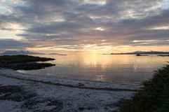 Arisaig sunset. Sunsetting over the sea at Arisaig Scotland at the beach where Local Hero was filmed stock photos