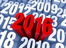 2016 Arises. A shiny bold, red 2016 extends past other years in light blue Stock Images