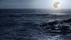 Arising full moon over sea. Arising full moon over east sea coast Royalty Free Stock Photos