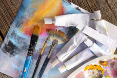 Aristic paint and brushes Royalty Free Stock Photo