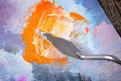 Aristic paint and putty knife Royalty Free Stock Image