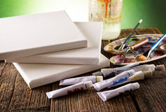 Aristic paints and brushes Stock Image