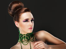 Aristocracy. Gorgeous Young Caucasian Brunette Posing. Series of photos Royalty Free Stock Image