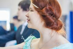 Aristocrat. Beautiful redhead girl. Portrait in profile. historical dance Stock Photography