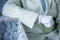 Aristocrat concept. man. & x27;s hand in a white glove. stylish suit Royalty Free Stock Photography