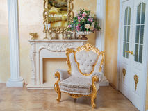 Aristocratic apartment interior in classic style. Luxurious antique interior in aristocratic style Royalty Free Stock Images