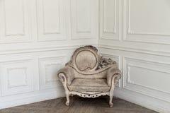Aristocratic apartment interior in classic style. Luxurious antique interior in aristocratic style in white colors Stock Photo